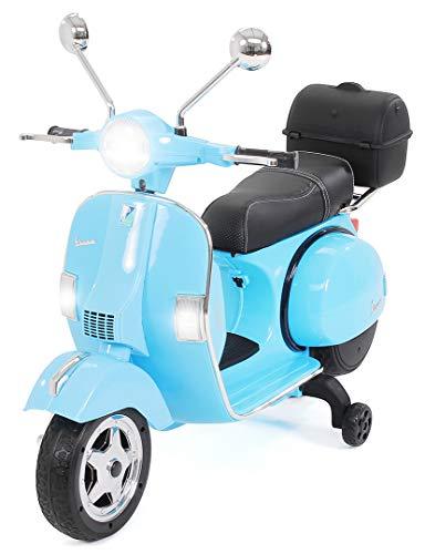 Actionbikes Motors - Vespa Piaggio scooter elettrico per bambini PX150 - Licenza di marchio - Motore 2x18 Watt - Eva pneumatici in gomma (Celeste)