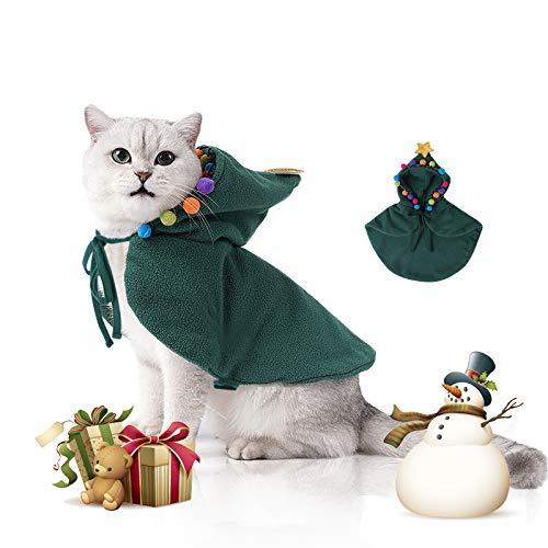 Nobleza Disfraz Gato de Navidad, Navidad Ropa para Perros Pequeño, Traje de árbol de Navidad Ajustable para Cachorro Gatito Gatos Pequeños Perros Mascotas, Único, Adorable y Cálido
