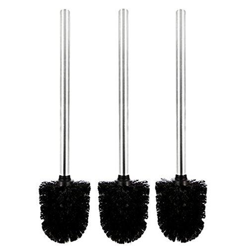 Pixnor 3pcs Brosses de coiffeuse en plastique avec manche en acier inoxydable (Noir)