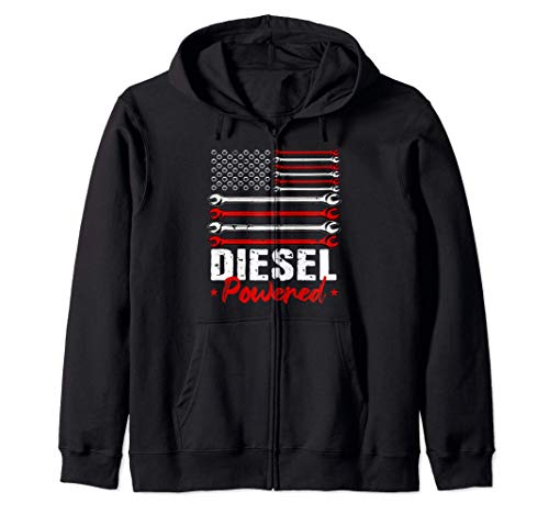 Diesel Mechanic Gifts Powered Patriotic American Flag Felpa con Cappuccio