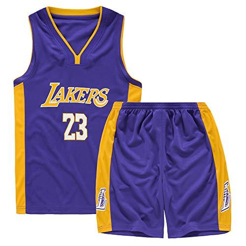 WQJIE Traje de Jersey de Baloncesto para niñas y niños, Jersey Lakers 23 James Swinger, Jerseys de Baloncesto Trajes de Verano Kits Top + Short-Purple-XXL