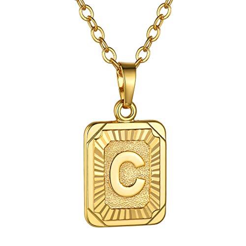 GoldChic Kupferkette mit Buchstabenanhänger C Viereckig Initial Herz Anhänger Kette 18K Vergoldet Buchstabe Halsketten 51CM+5CM Verläangerkette