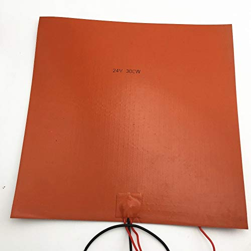 XBaofu 1pcs 300x300mm Cama Calentador de Silicona 24V 300W Pad W termistor for la Impresora 3D de Calor de lecho Almohadillas eléctricas Silica Gel Naranja