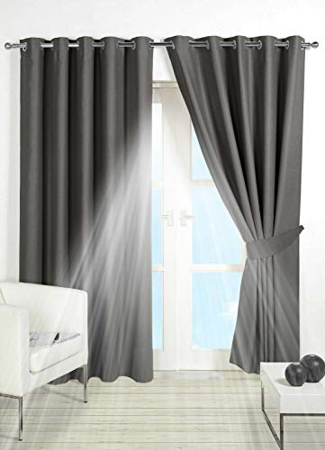 PAIR of BLACKOUT CURTAINS Super Soft Solid Thermal INSULATED EYELET Ring Top Curtains BLACKOUT Window CURTAINS for Living Room Bedroom Including Two Matching Tie Backs (Dark Grey, 90' x 90')