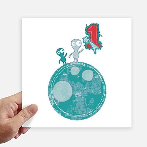 DIYthinker Univers et Le Monstre Extraterrestre sur Terre Autocollant carré de 20 cm Mur Valise pour Ordinateur Portable Motobike Decal 4Pcs 20cm x 20cm Multicolor