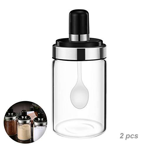 2 stuks High Borosilicate glazen kruiken met lepel en deksel, multifunctioneel, duurzaam, milieubescherming, gemakkelijk te gebruiken en schoon, vochtbestendig, stofdicht