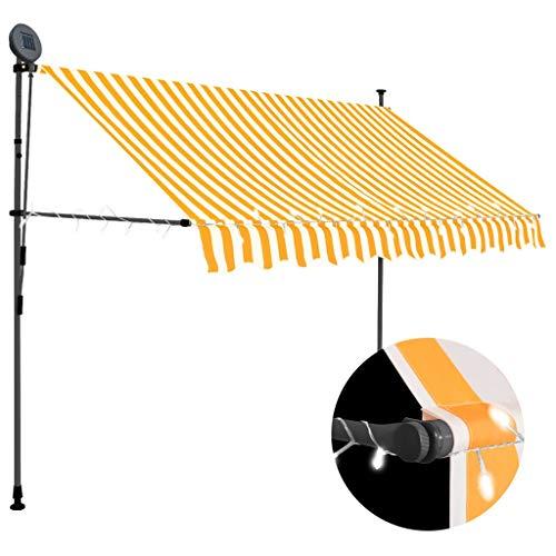 vidaXL Markise Einziehbar Handbetrieben mit LED Wasserabweisend Klemmmarkise Balkonmarkise Sonnenschutz Terrasse Balkon Garten 300cm Weiß Orange