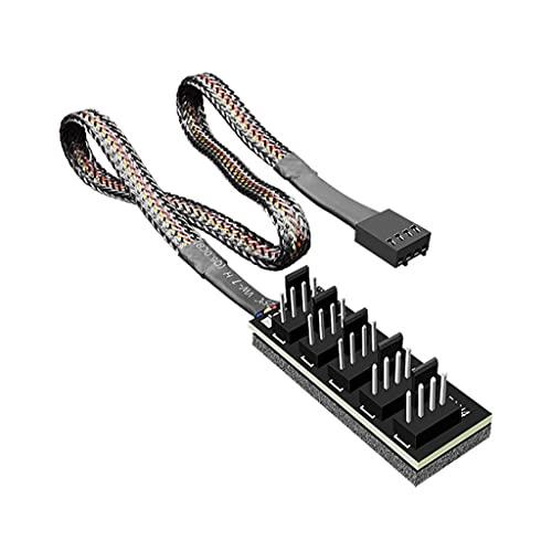 xllLU Coolmoon 4-Pin PWM Ventilador Fuente de Alimentación Cable 1 a 5 Splitter 5 Way Hub PC Caso Interno Placa Base Ventilador Extensión de Alimentación Pwm Hub Controller Master Fan 5 Way Cooler