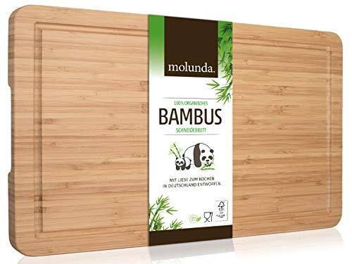 Molunda Schneidebrett aus 100% Bio-Bambus 45 x 30 x 2 cm XL – FSC® Zertifiziertes Antibakterielles Holz Küchenbrett | Mit Saftrille und Griffmulden