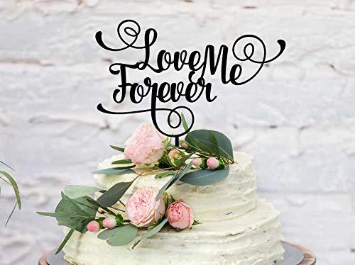 Forever Liefde Bruiloft Taarttopper - Love Me Forever Bruiloft Taartdecoratie - Gemaakt om te bestellen - Roségouden Spiegel - Zilveren Spiegel Meer Kleuren