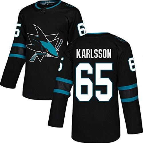 HYQ NHL Shark New Jersey 9 Kane 88 Brennt # 65 Long Sleeve Jersey Jersey Mens gestickte Trainings-Kleidung,#65 Karlsson,XXXL=60