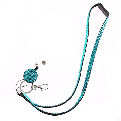 Fashion Glitter Retractable Turquoise Bling Crystal Lanyard Cute Rhinestone Badge Holder with Necklace + Badge Reel+Breakaway Safety Clasp for Girl,Woman,Lady