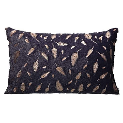 Almohada, almohada de material de felpa dorada, cubierta interior de algodón suave resistente a las arrugas, 2 unidades