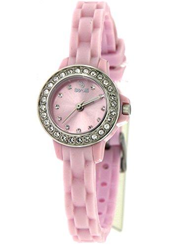 Stroili Watch Orologio Solo Tempo Rosa con Ghiera Impreziosita da strass,cassa in Acciaio e Cinturino in Silicone Referenza B0585-10