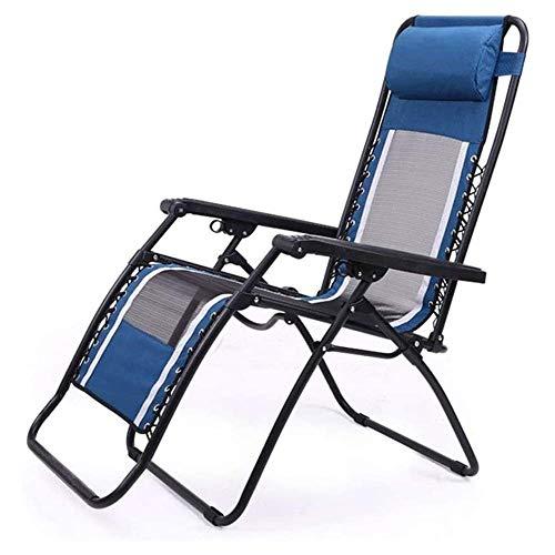 FTFTO Productos para el hogar Tumbona Plegable para Camping y Ocio Silla de jardín reclinable Tumbona con reposacabezas Cama de campaña Azul Estructura de Acero