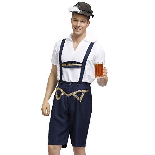 Luoluo klederdrachthemd voor heren, 3-delig, wit, korte broek met bretels, hoed traditionele kleding, Beierse kostuums voor het Oktoberfest