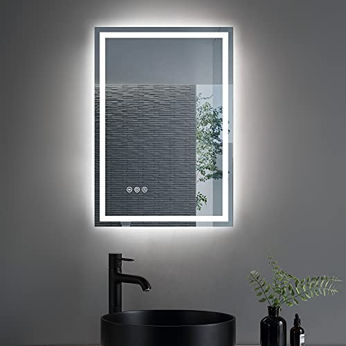 OONNEE 26×18 Inch Led Mirror for Bathroom ,Wall-Mounted Vanity Mirror with 3-Colors Lights,Waterproof and Anti-Fog (Horizontal/Vertical)