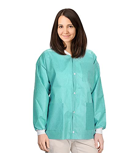 """AMAZING Disposable Lab Jackets, 31"""" Long. Pack of 100 Teal Hip Length Work Gowns Large. SMS 50 gsm Shirts with Snaps Front, Knit Cuffs & Collar, 3 Pockets. PPE Body Protective Short Coats in Bulk."""