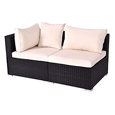 TANGKULA Outdoor Wicker Furniture Set Infinitely Combination Cushion Wicker (1 corner sofa+ 1 armless sofa)