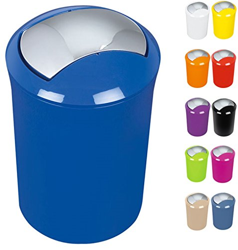 """Spirella Design Kosmetikeimer 10.14385\""""Sydney mit Schwingdeckel 5 Liter (ØxH): 19 x 30 cm Blau"""