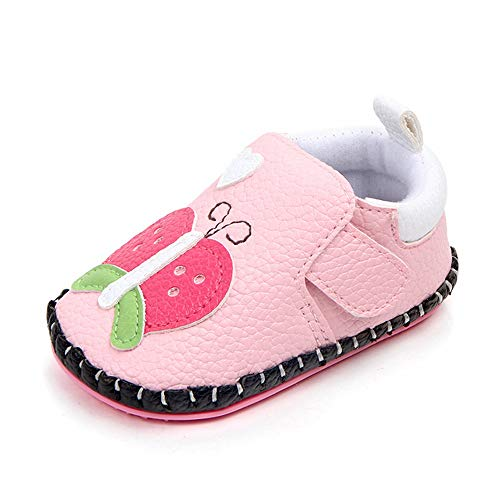 LIDIANO Baby Non Slip Rubber Sole Cartoon Animal Slippers Crib Shoes Infant/Toddler (12-18 Months, Pink Butterfly)