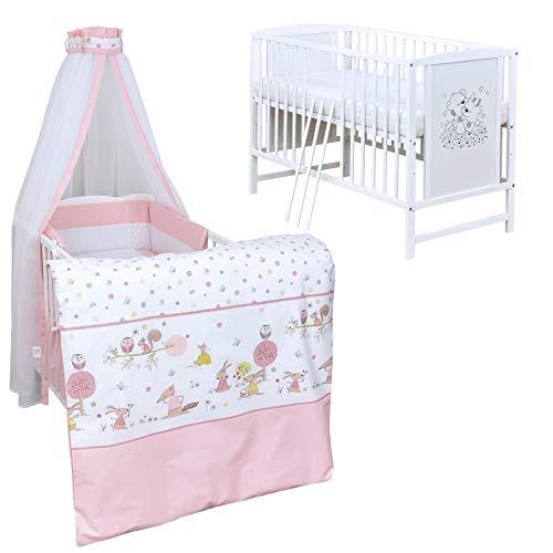 Baby Delux Babybett Komplett Set Kinderbett Mia weiß 120x60 Bettset Matratze in vielen Designs (Waldtiere Rosa)