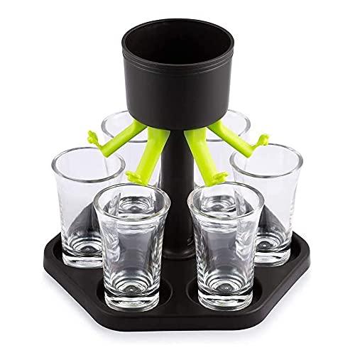 Dispenser per Bicchierini da Liquore,6 Dispenser per Bicchierini e Supporto,Dispenser per Bicchieri da Bar,Distributore di Bevande di Riempimento per Liquidi,Cocktail,Grappe,Birra(6 Tazze Bianche)