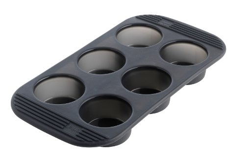 MASTRAD - Moule 6 Muffins - 100% Silicone Premium - Anti-Adhésif - Maintien Parfait - Gris Fumé