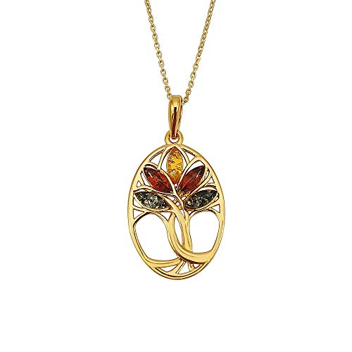 Kiara Jewellery - Collana con ciondolo a forma di albero della vita, in argento Sterling 925 placcato oro e ambra mista, con catenina da 45 cm