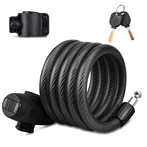 Qsnn Candado para bicicleta, candado seguro de 150 cm/12 mm, cable de...