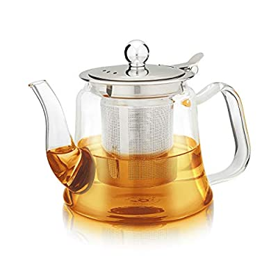Teabloom Siena Teapot – Heatproof Borosilicate Glass with Removable Loose Tea Infuser – Stovetop Safe – Tea for One – 20 oz. / 600 ml (1-2 Cups)