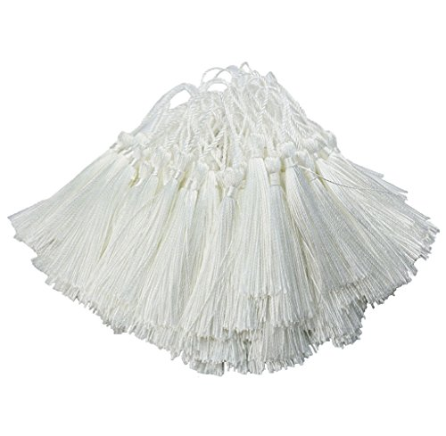 Aokbean 100pcs 5 Inches Handmade Silky Floss Soft Craft Bookmark Tassels with Loops for DIY, Jewelry Making, Graduation Tassel,Bookmarks,Souvenir (White)