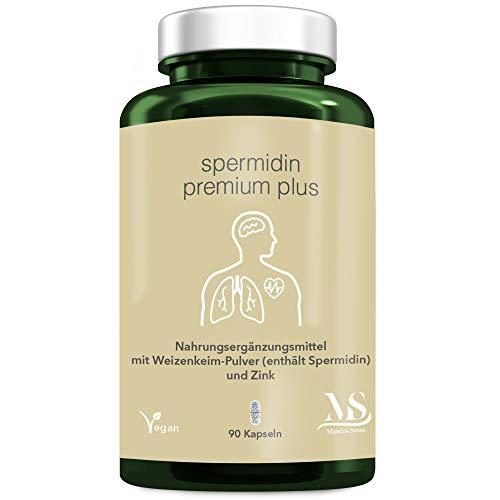 MS Spermidin Premium Plus, 90 Kapseln | Weizenkeim-Pulver (enthält Spermidin) | Zink | Vegan | Laktosefrei | Nahrungsergänzungsmittel