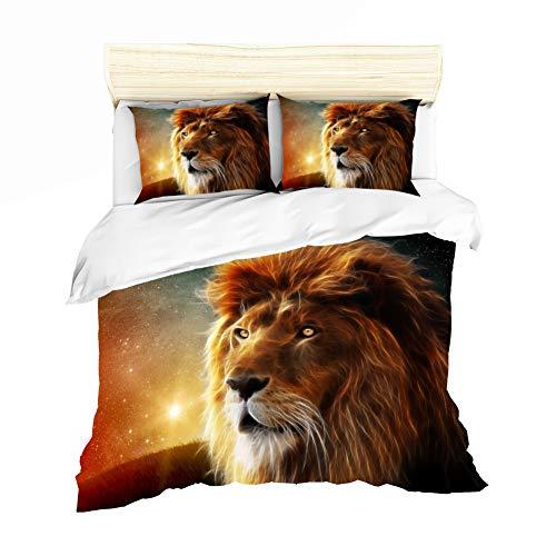 AYMAING Bettwäsche-Set, König der Tiere - Löwe Motiv, Bettbezug 135 x 200cm, Kopfkissenbezug 80 x 80 cm- Mikrofaser
