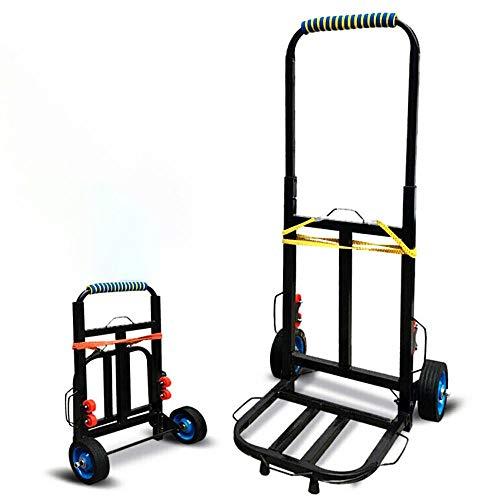 YAODFYL Aluminiumlegierung Treppen Transportkarre Klappbar Leichtgängige Räder mit Soft-Laufflächen und bis 110 kg,Schwarz Einkaufstrolley für Angeln