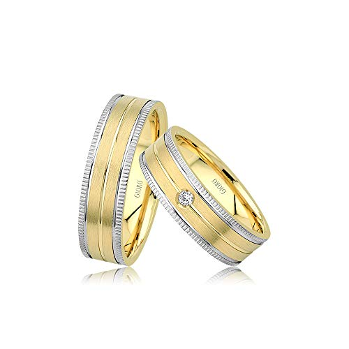 GIORO Bergamo Eheringe Trauringe Hochzeitsringe massiv Bicolor Gold *handgefasste Brillanten* Paarpreis Echtes Gold (14 Karat (585) Bicolor)
