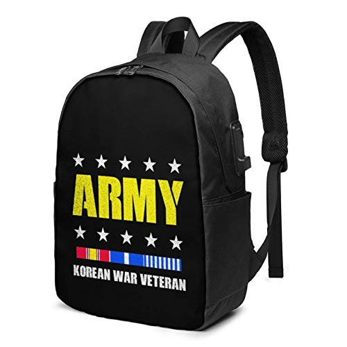 Lsjuee Korean War Veteran Army Travel Laptop Backpack with USB Charging Port for Women Men School College Students Backpack Fits 17 Inch Laptop