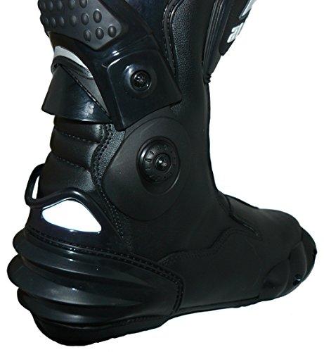 Protectwear TS-006-43 Motorradstiefel Racing aliue, Wasserabweisend aus schwarzem Leder mit aufgesetzten Hartschalenprotektoren, Größe 43, Schwarz - 6