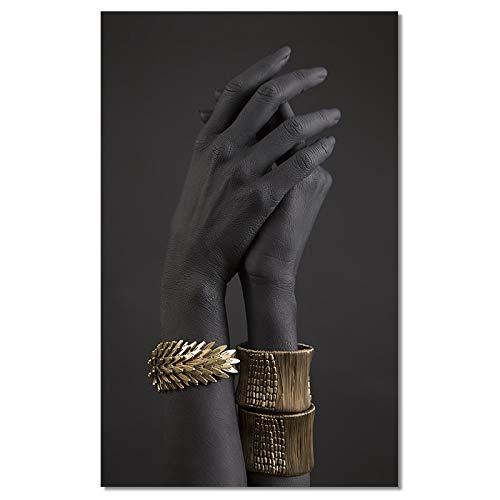 Mano negra y dorada Pintura de pulsera de oro sobre lienzo Cuadros de arte africano Carteles e impresiones Imagen de arte de pared para sala de estar Decoración del hogar 50x70 cm Sin marco