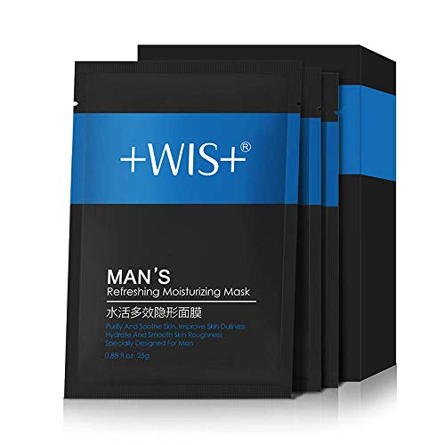 WIS Natural Hydrating Facial Mask for Men Oil Control - Face Sheet Soothing Masks with Witch Hazel, Hyaluronic Acid, Anti-Aging with Collagen, Deeply Moisturizing, Minimize Pores & Beard Care(20 Pack)