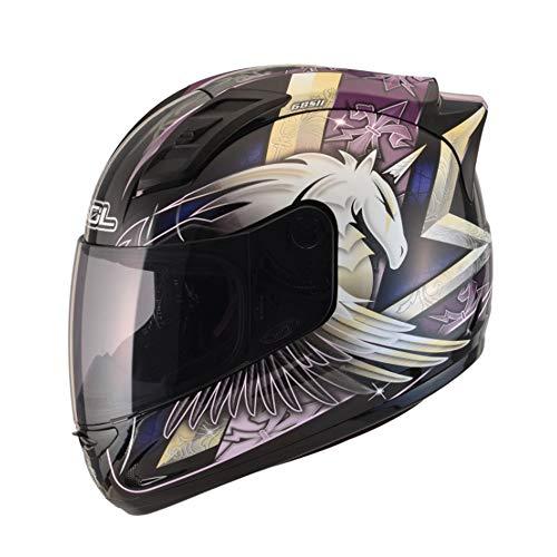 Yedina Jugend Motorrad Integralhelm Retro Erwachsenen DOT Zertifizierung Männer und Frauen Reiten lila modulare Schutzbrillen Aufkleber Rennen cool Full Full Helm,M