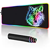 RGB Gaming Mouse Pad - 14 Light Modes Extended Computer Keyboard Mat, Anime LED Mouse Pad Large,High-Performance Mouse Pad Optimized for Gamer 31.5 X 12in (Wolf Mouse pad)