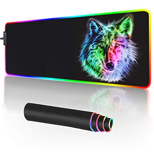 RGB Mouse Pad,Gaming Mouse Pad RGB,Cool Animal LED Mousepad-14 Light Modes Soft Non-Slip Base Large LED Mouse Mat for Laptop Computer PC Games 31.5 X 12 inches (RGB Wolf Mouse Pad) Photo #2