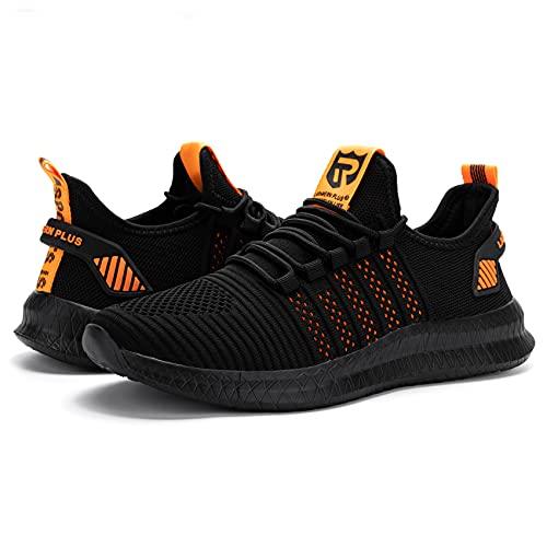 LARNMERN PLUS Herren Straßenlaufschuhe Atmungsaktiv Sneaker Schwarz Orange 43