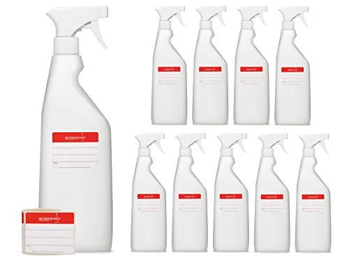 10 x 750 ml Sprühflaschen aus HDPE, Sprayflaschen mit Sprühpistole, leere Zerstäuber mit verstellbarer Sprühdüse (Strahl/Spray), Spray Bottle z.B. für Planzen/Blumen, Reinigung, Werkstatt