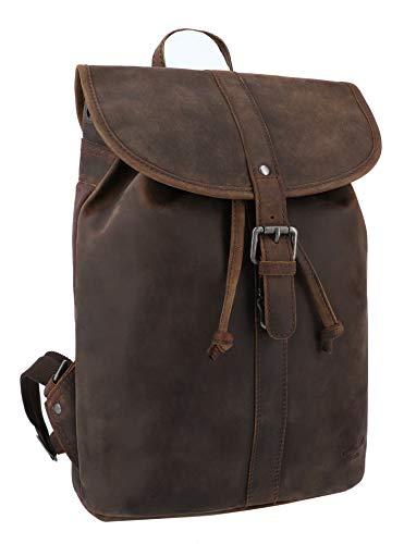Gusti Lederrucksack Damen Leder - Bennett Rucksack Cityrucksack Backpack Daypack Wasserdicht 12L Vintage Damen Herren Braun