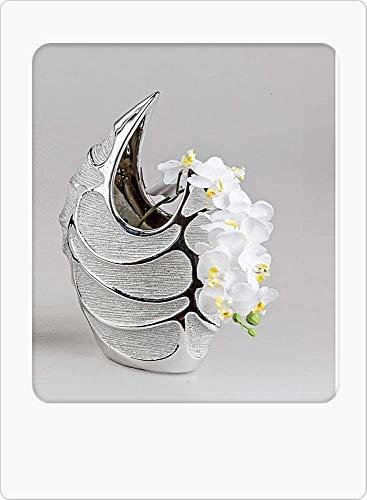Bollweg, moderno vaso per fiori, 21 x 30 cm, serie Style – Argento ceramica opaca