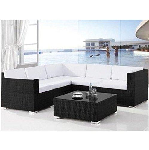 Bagno Italia canapé salon polyrattan 8 places fauteuils et table de jardin extérieur coussins de piscine