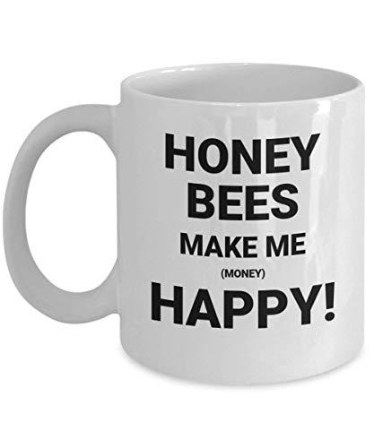 Honingbijen maken me geld gelukkig witte keramische hete thee warme chocolade koffie kopjes