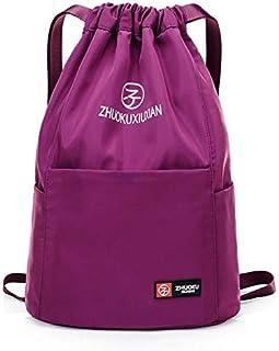 Women backpack shoulder bag drawstring waterproof purple